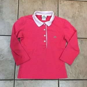 Lacoste Girl's Youth Polo Shirt Size 34  Pink